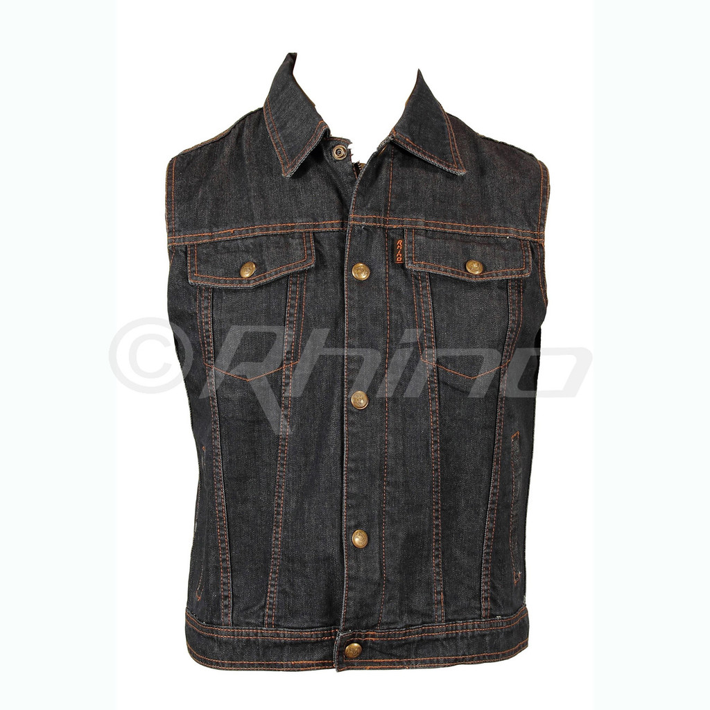 Blue Denim Motorcycle Vest - front view