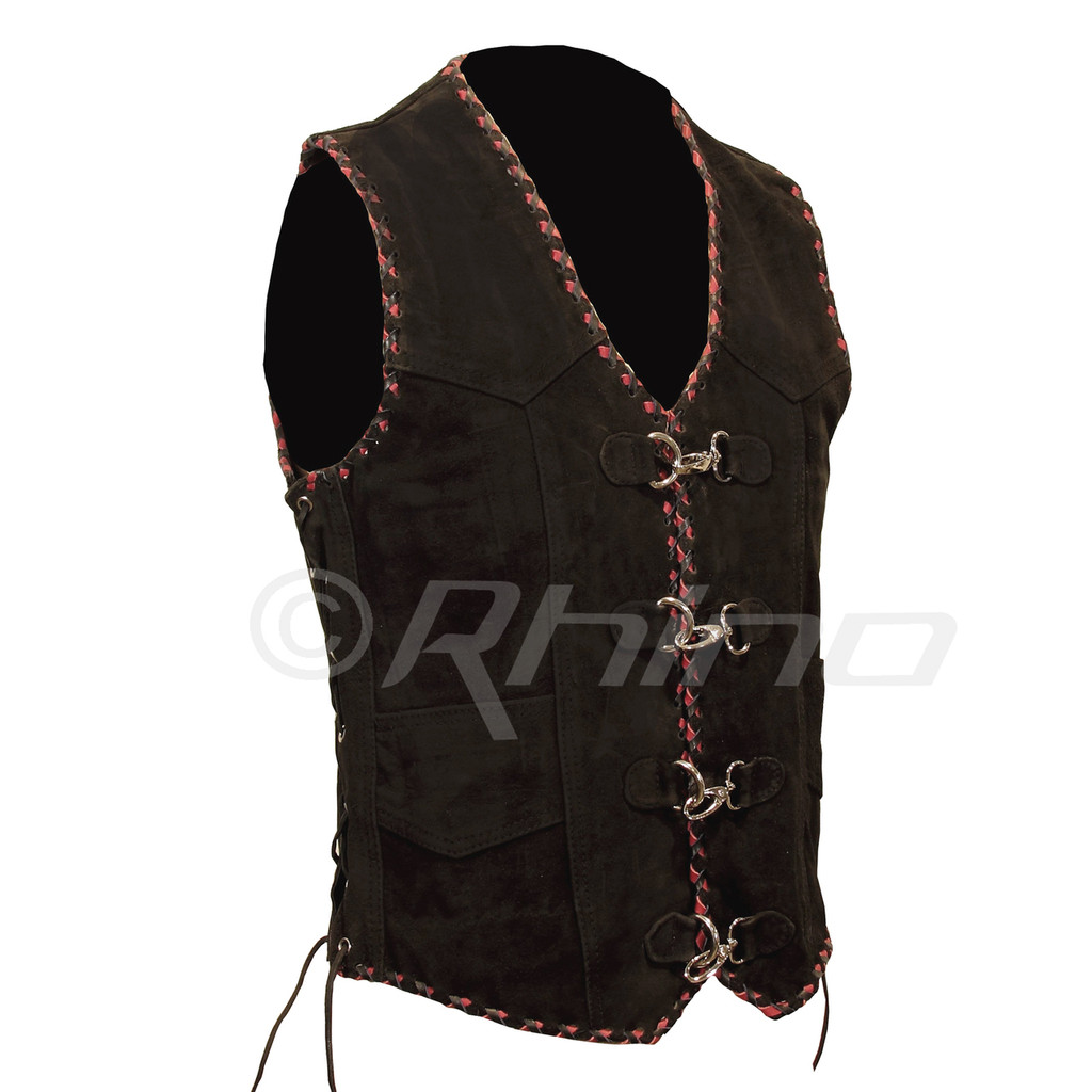 Suede Vest with Metal Clasps and Black and Red Braiding