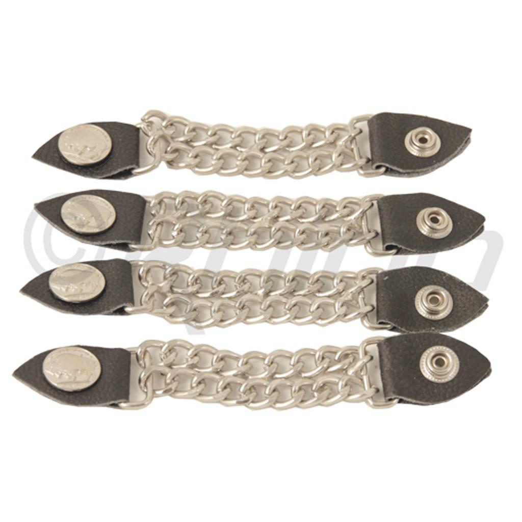 Classic Unisex Vest Extender Chain - Silver Buffalo Head button (4pcs)