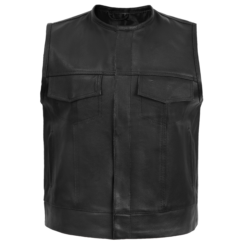 Sons of Anarchy Style Leather Vest - No collar