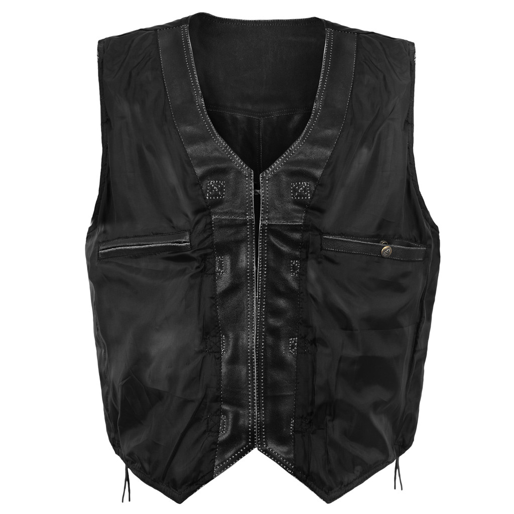 Black Distressed Leather Vest with metal clasps