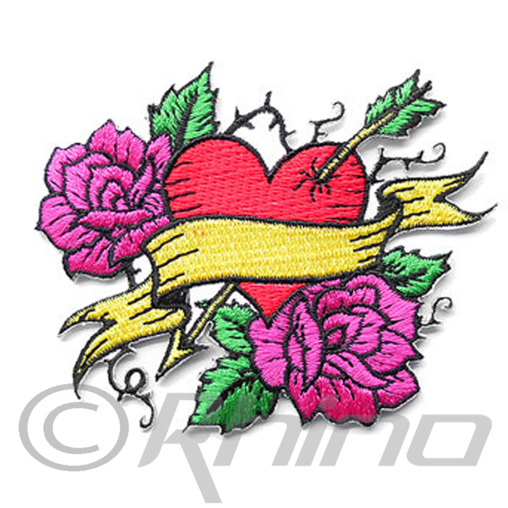 Tattoo Heart & Roses Patch
