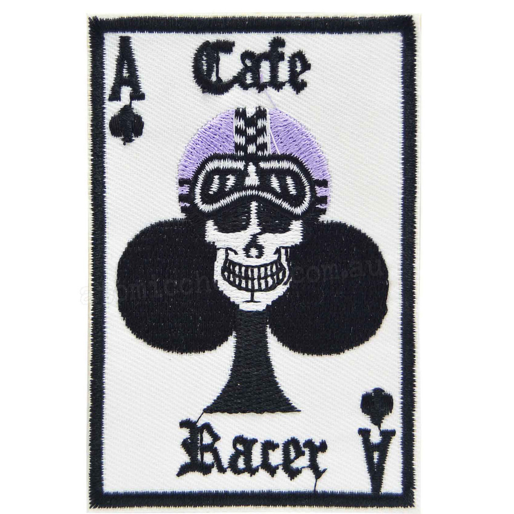 Cafe Racer Ace of Clubs Skull Motorcycle Patch