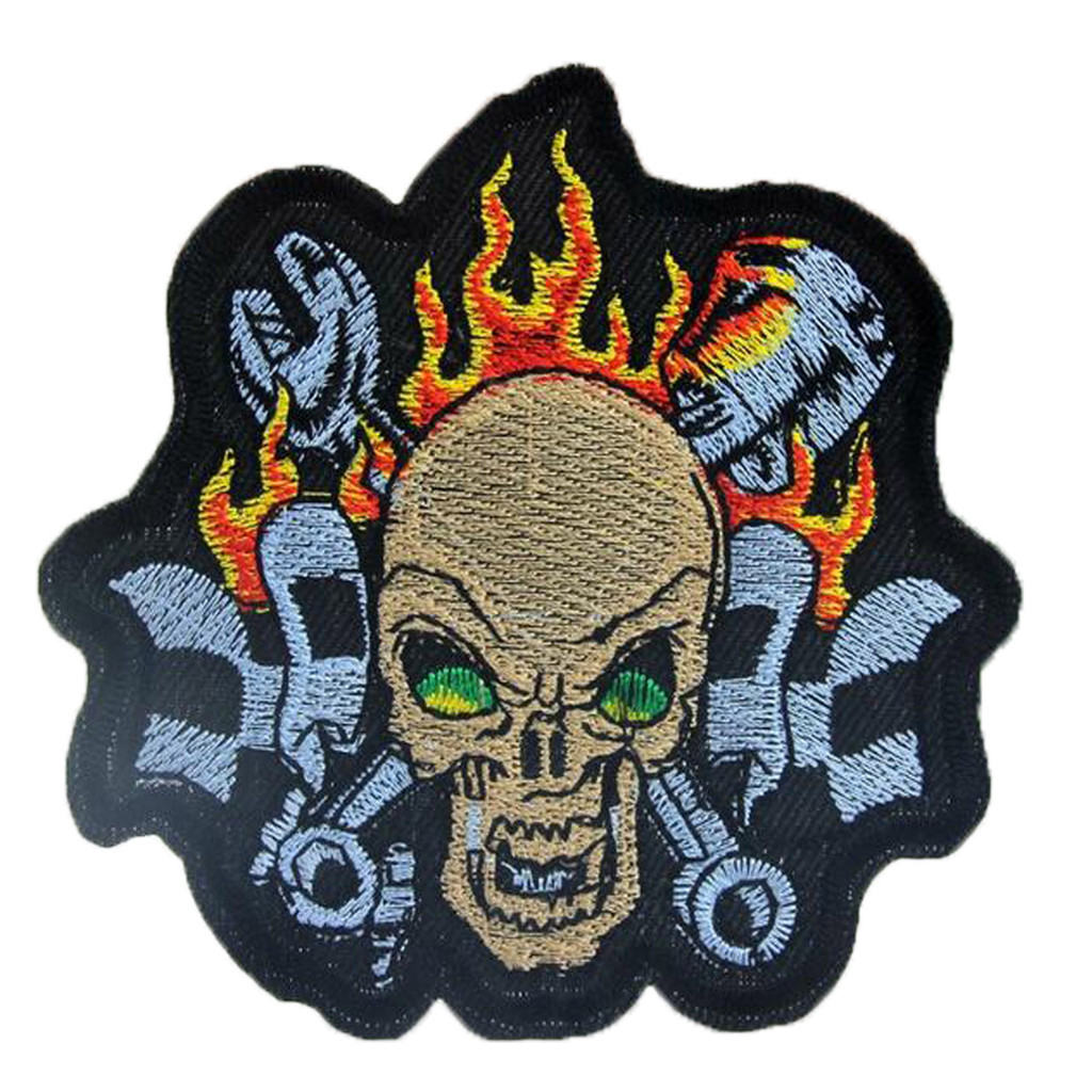 Skull and Flames Embroidered Patch