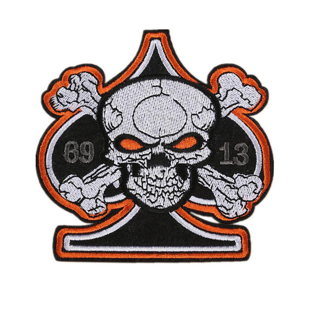 Ace of Spades Skull 13 Motorcycle Patch