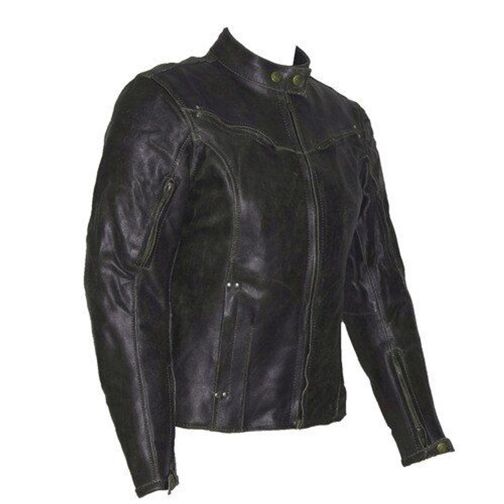 Topaz Women's Dark Brown Vintage Distressed Leather Motorcycle Jacket