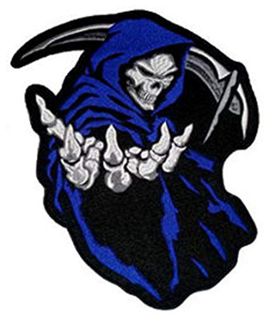 Blue Grim Reaper Death Skull Motorcycle Patch