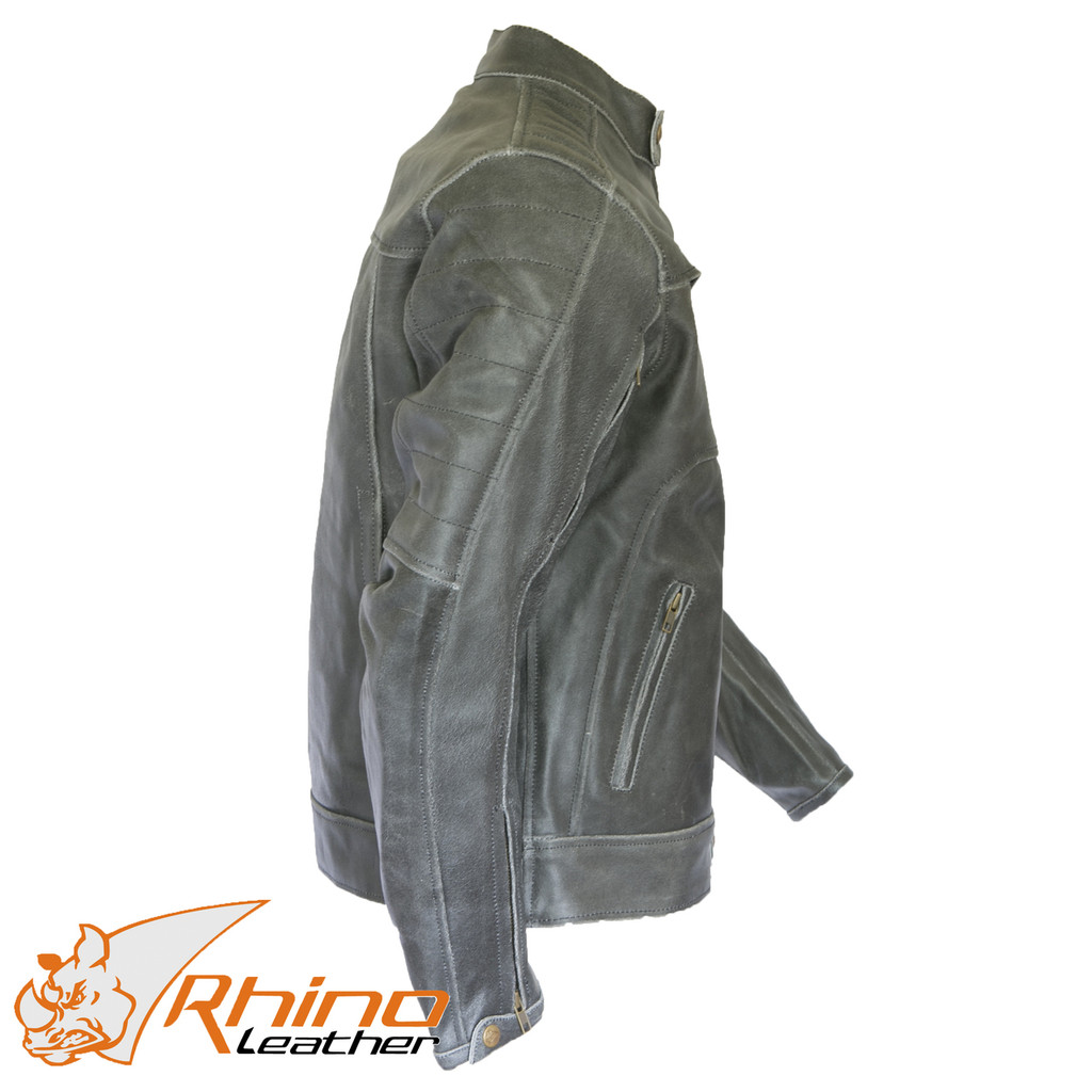 Bronson Black/Grey Distressed Vintage Leather Cafe Motorcycle Jacket