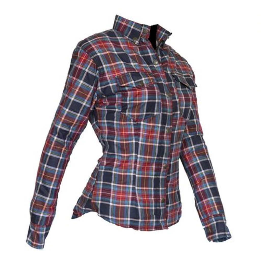 Womens Fully Lined DuPont™ Kevlar® Lined Shirt Red and Blue