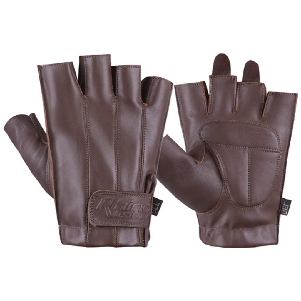 Brown Fingerless Motorcycle Gloves