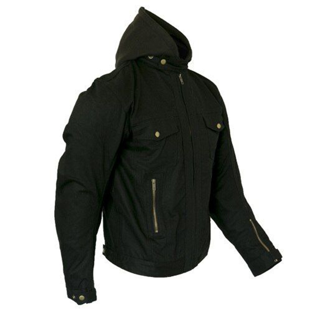 Black Denim Motorcycle Jacket with hoodie