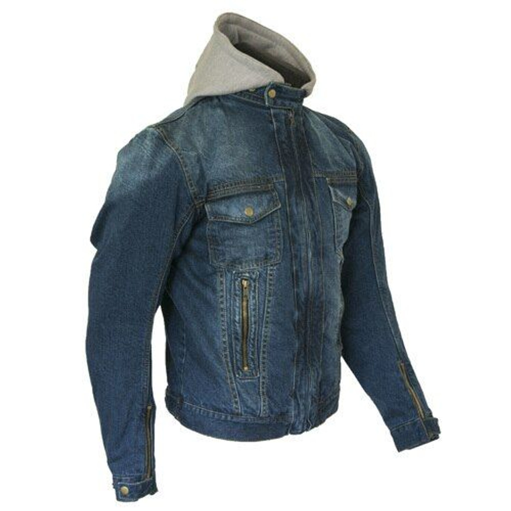 Merlin Blue Denim Motorcycle Jacket with hoodie reinforced with protective aramid lining