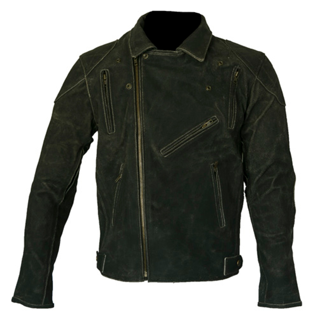 Matte Black Brown Brando Motorcycle Jacket with Armour & Vents