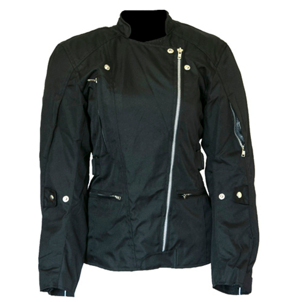 Ladies Waterproof Textile Motorcycle Jacket with removable armour