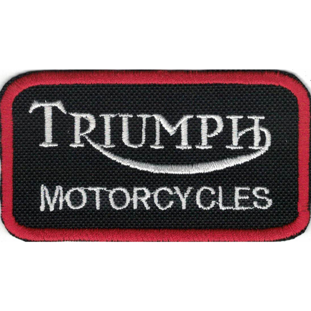 Motorcycle Rider Triumph Embroidered Patch Black/Red Trim