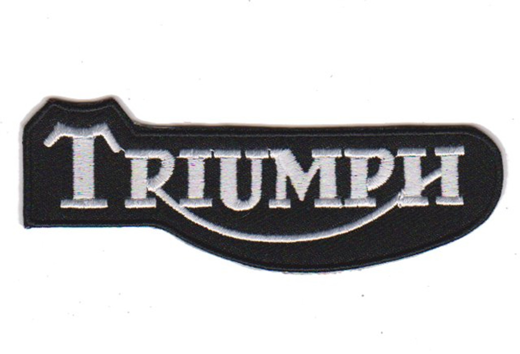 Motorcycle Rider Triumph Embroidered Patch Black/White