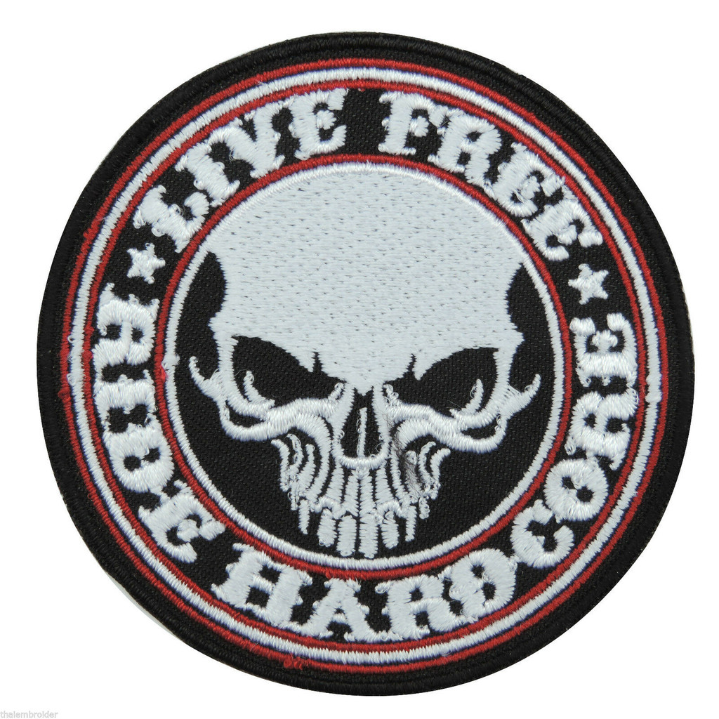 Motorcycle Rider Hardcore Round Embroidered Patch