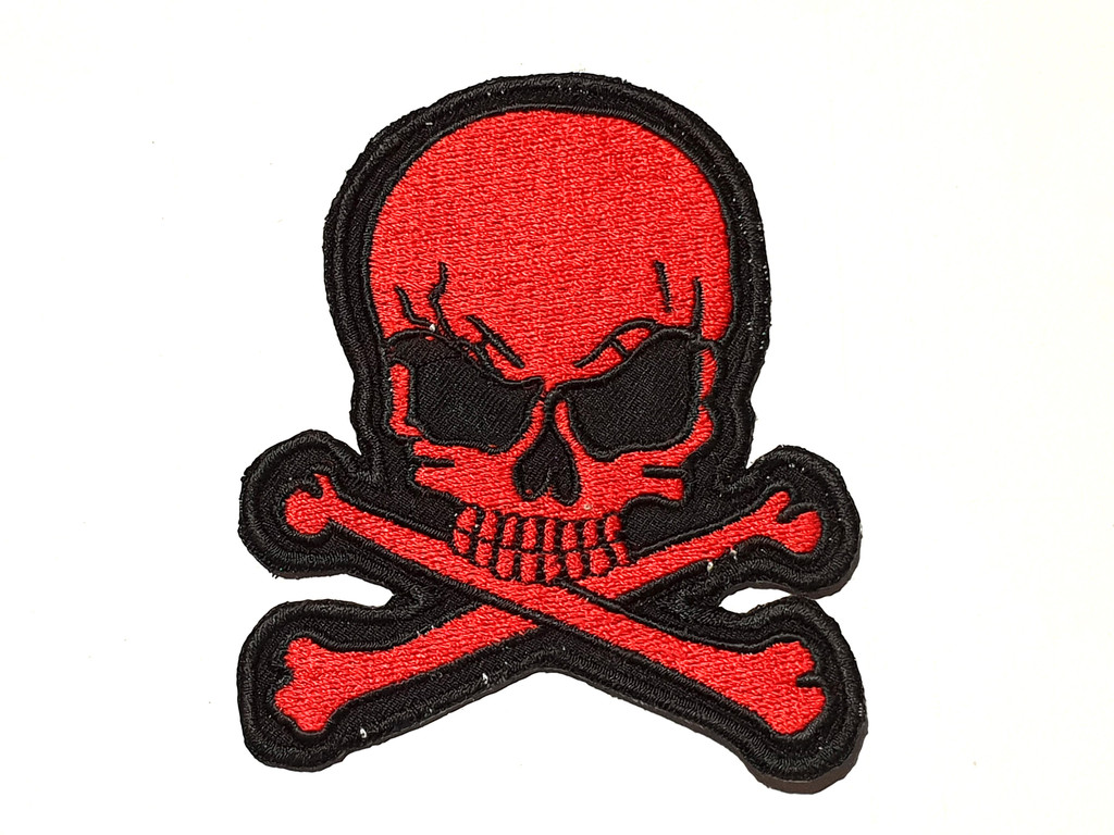 Crossbones Red Skull Embroidered Patch