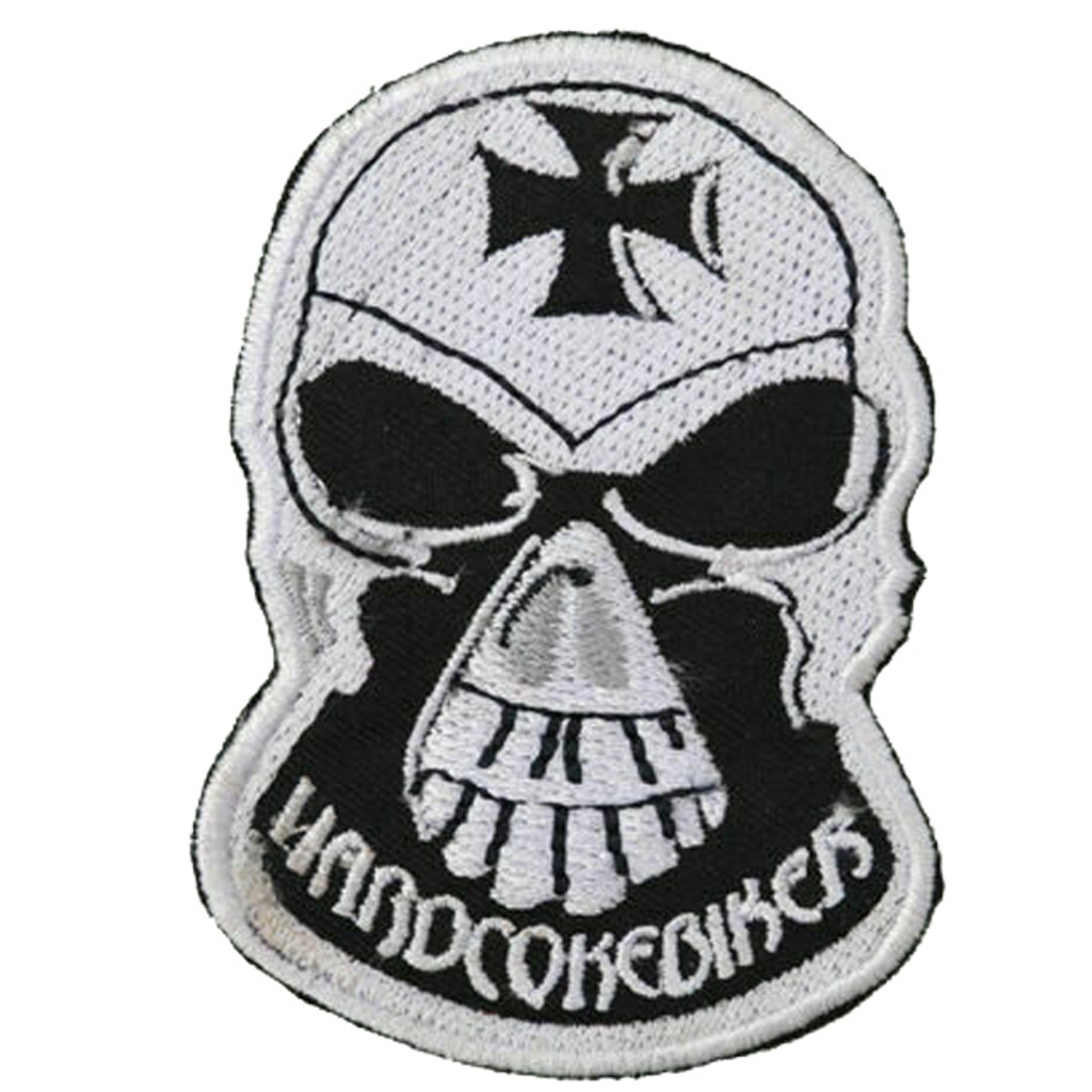 Motorcycle Rider Embroidered Patch Hard Core Biker Skull Cross