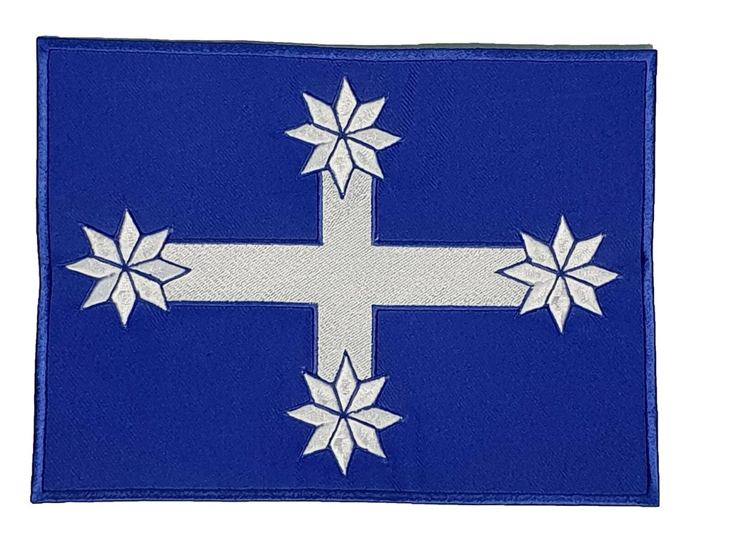 Motorcycle Rider Eureka Flag Blue White Embroidered Patch