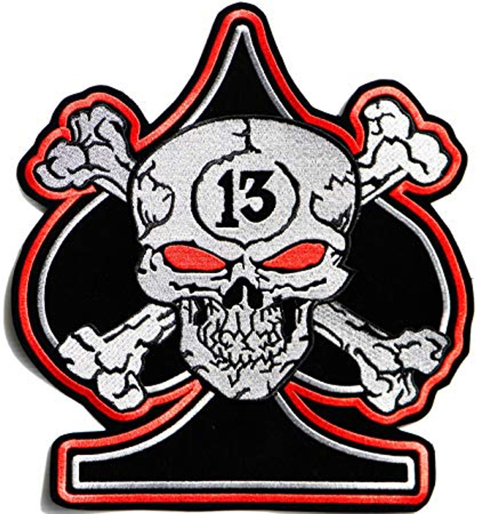 Motorcycle Rider Ace of Spades Skull Embroidered Patch