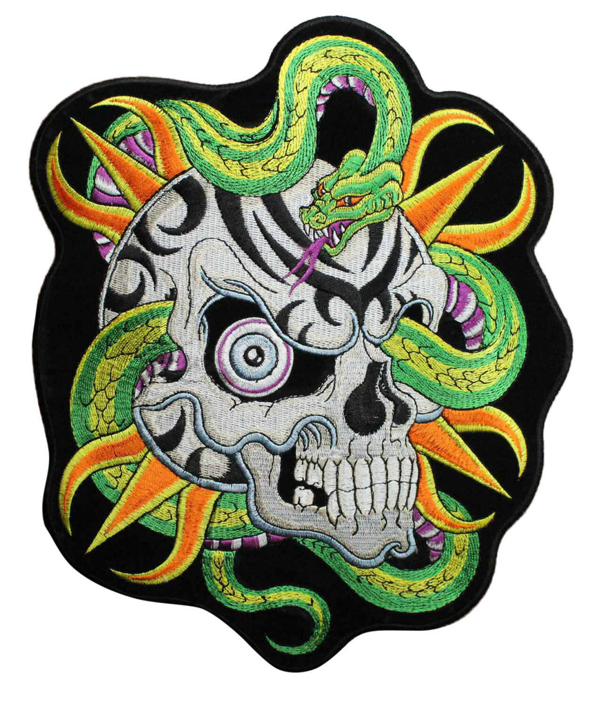 Motorcycle Rider Multicoloured Skull & Snake Embroidered Patch