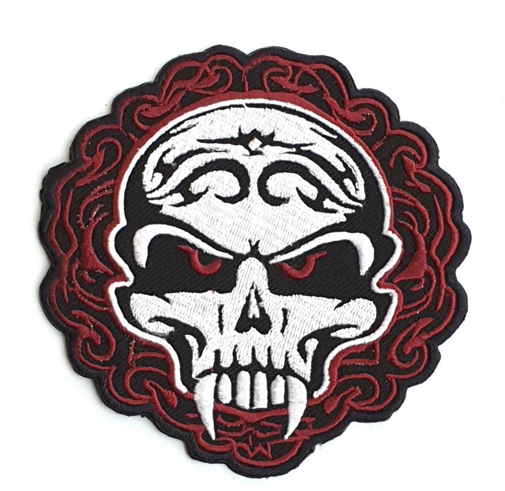 Motorcycle Rider Embroidered Patch Skull with Fangs