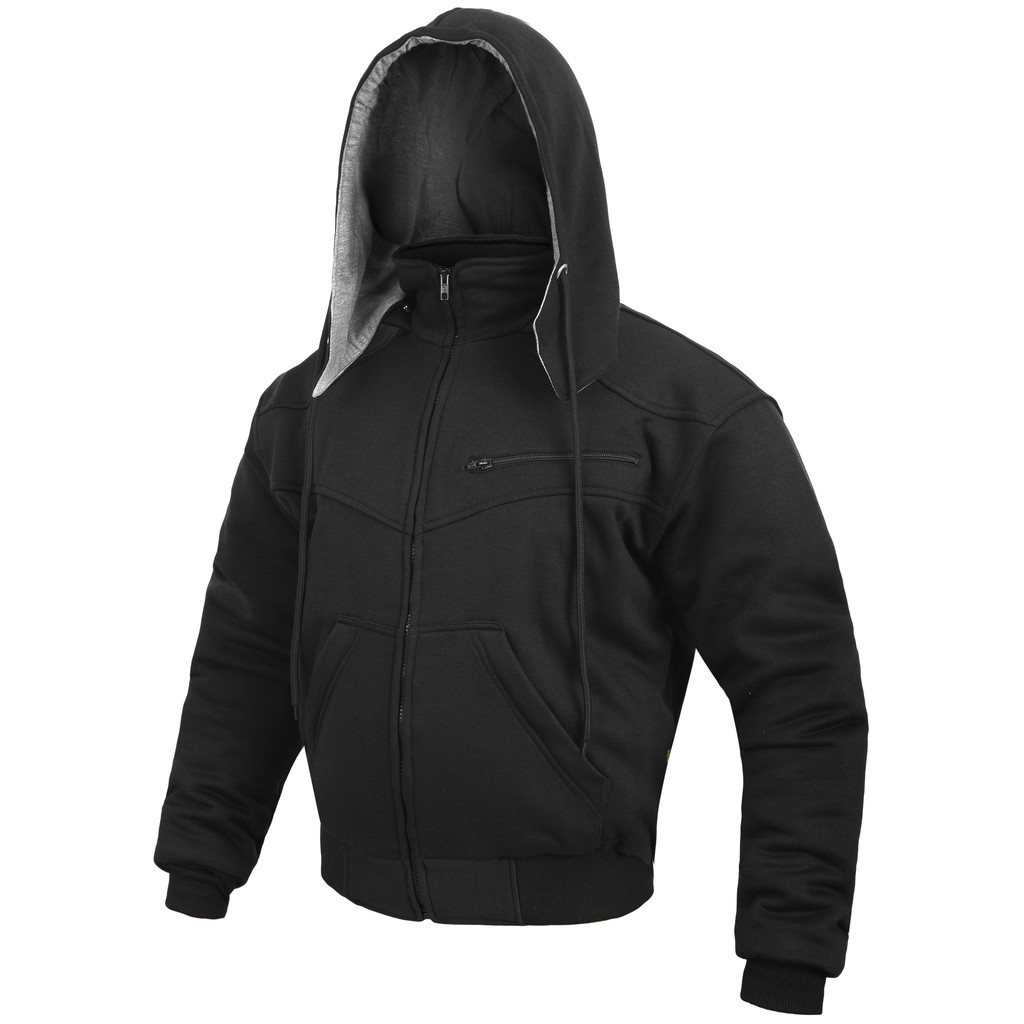 Black Hoodie Motorcycle Jacket reinforced with protective aramid lining