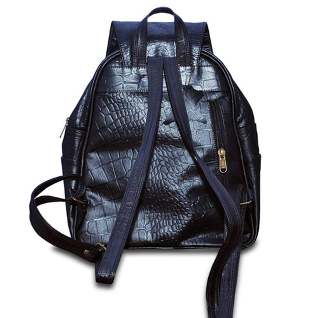 Black Leather Backpack - Back