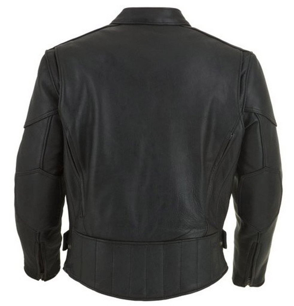 Leather Motorcycle Jacket with vents and armour - back