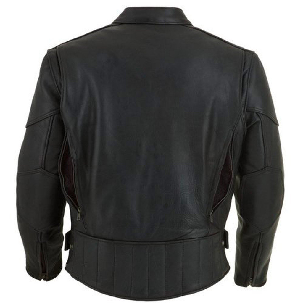 Leather Motorcycle Jacket With Vents And Armour Back Open