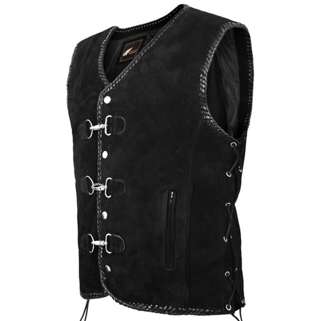 Suede Vest Hand Braided - Black Leather Braid