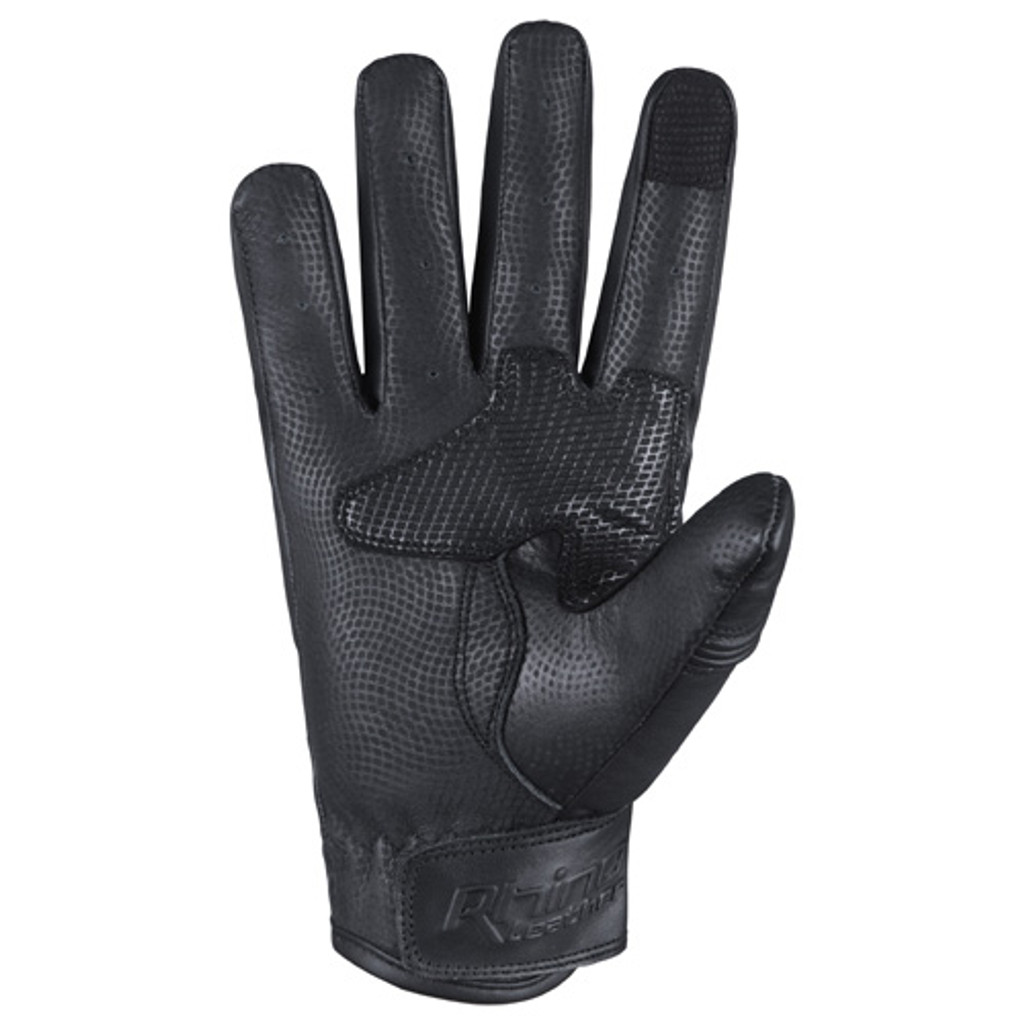 Black Leather Motorcycle glove with short cuffs