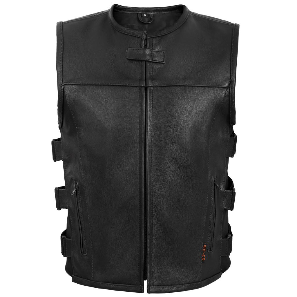 Black Leather Vest Anarchy w/ Adjustable Side Straps