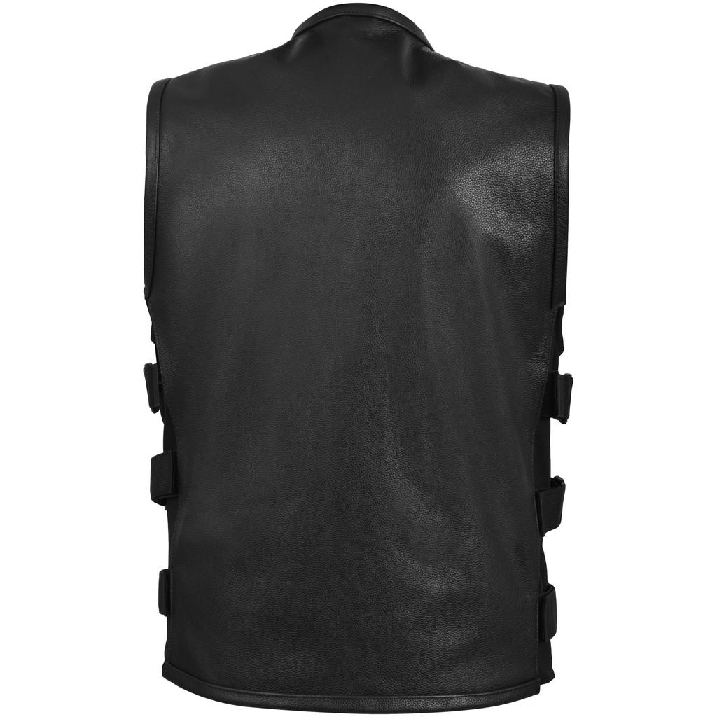 Swat Tactical Style Bikers Black Leather Vest