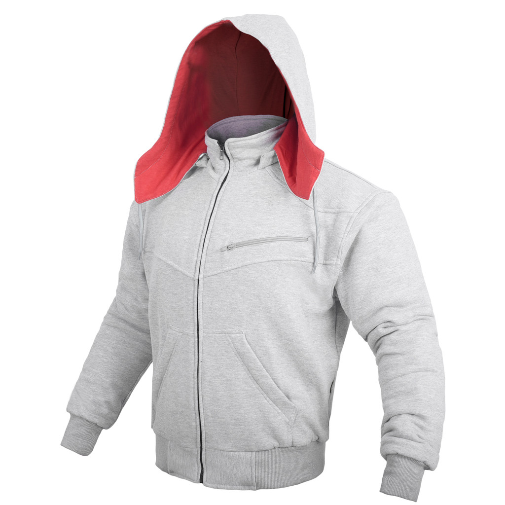 Grey Hoodie Motorcycle Jacket reinforced with protective aramid lining