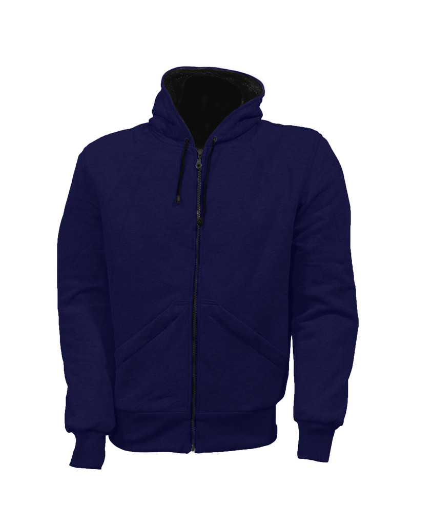 Navy Hoodie Motorcycle Jacket reinforced with protective aramid lining DISCONTINUED