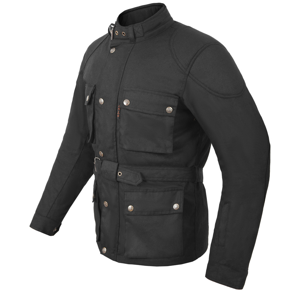 Waxed cotton motorcycle jacket