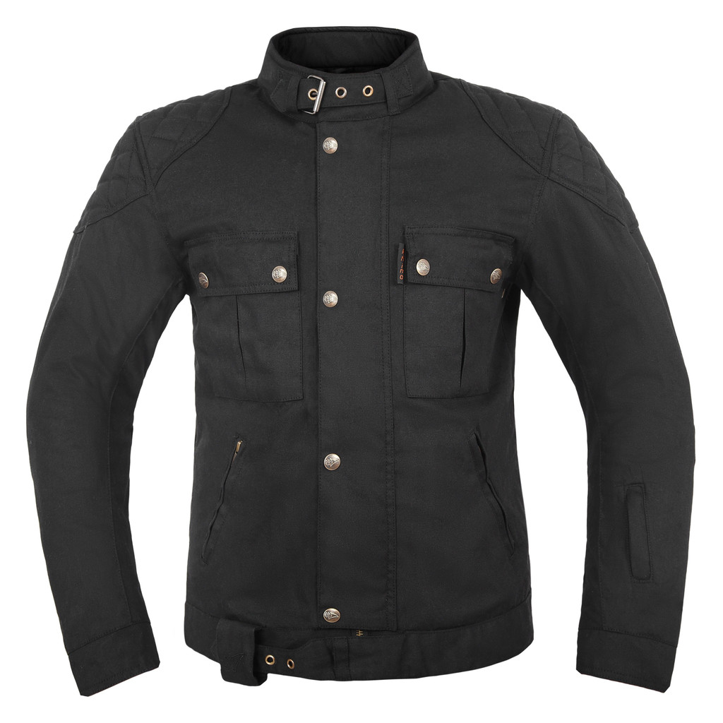 Waxed Cotton Black Motorcycle Jacket