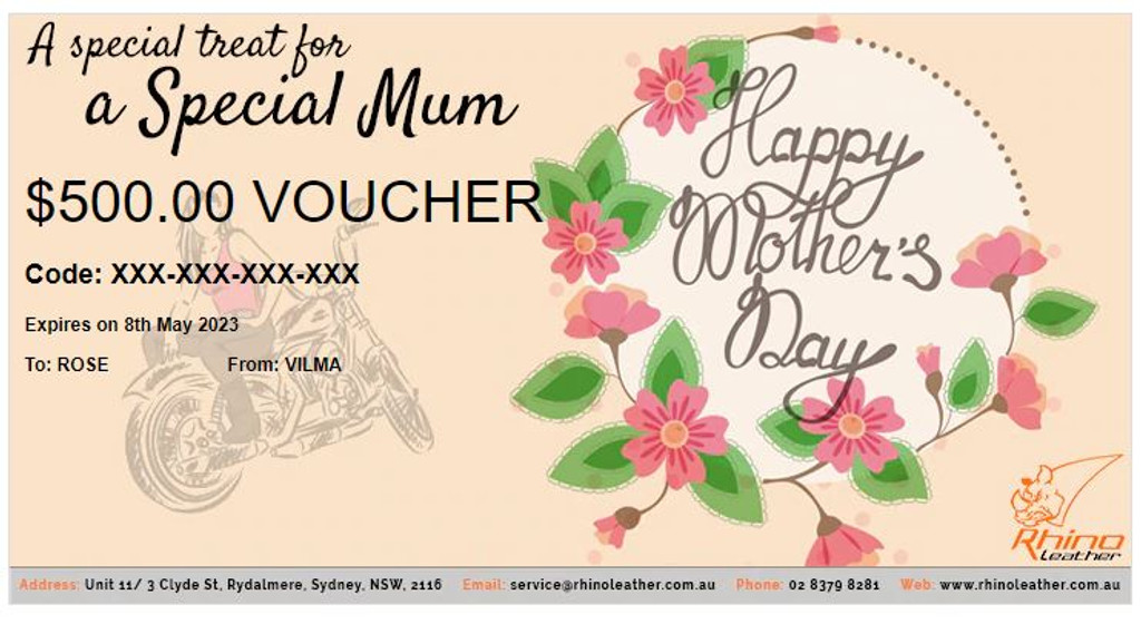 Rhinoleather Gift Certificates for Mother's Day