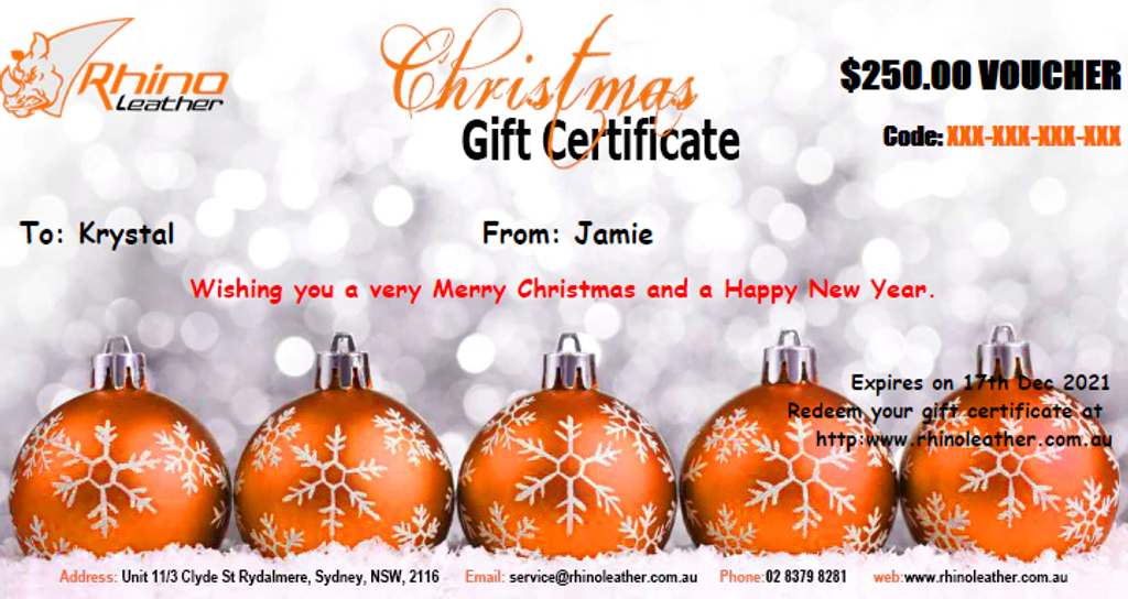 RhinoLeather Gift Certificates - Perfect for Christmas Gifts