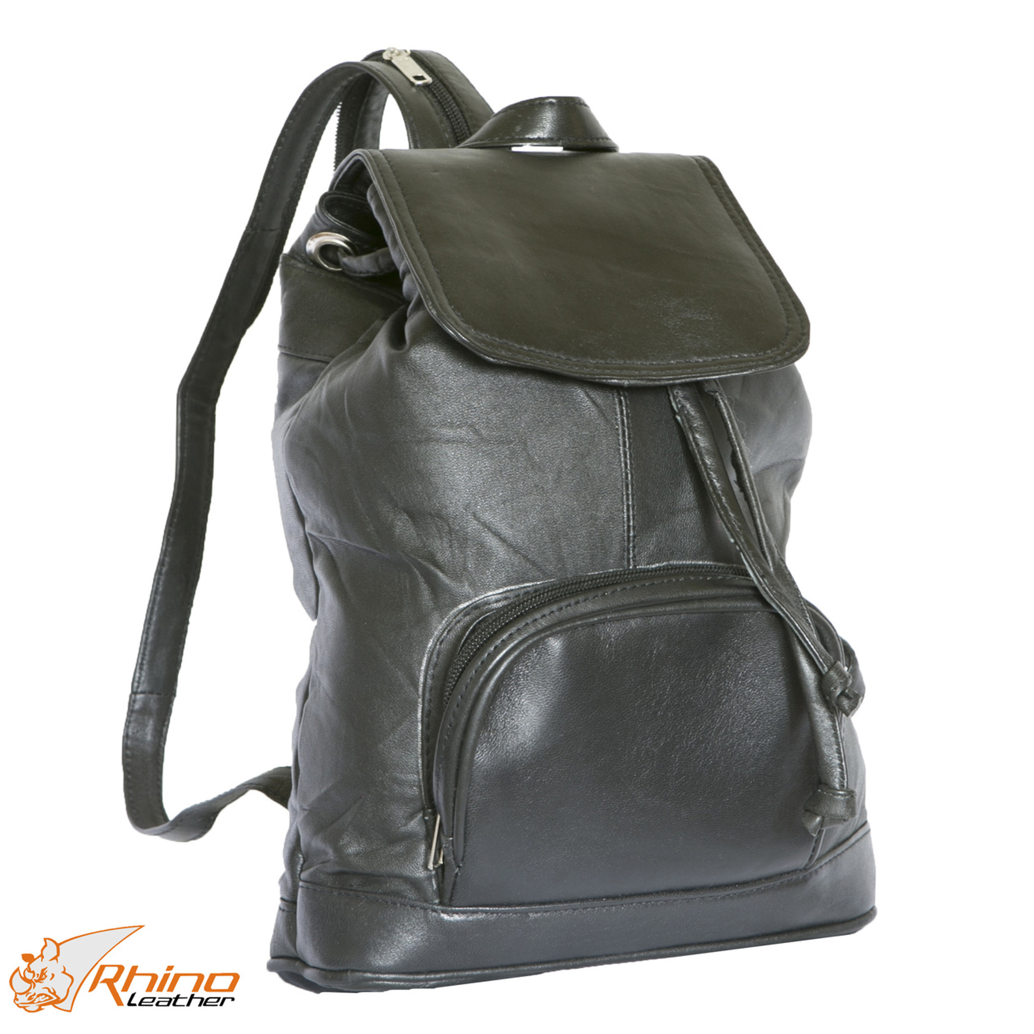 a3b01858d052 Medium Black Leather Backpack - Wilma