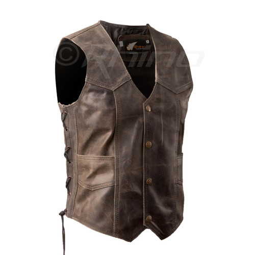 Brown Distressed Leather Motorcycle Vest with stud buttons