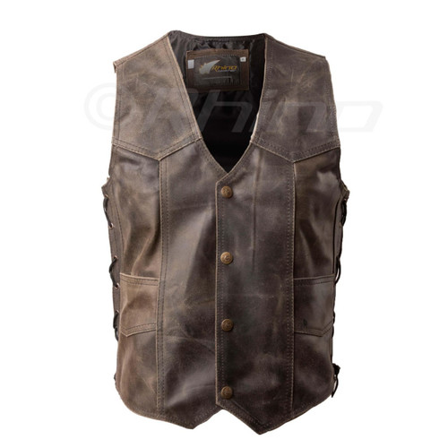 Brown Distressed Leather Vest with stud buttons - front