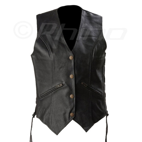 Womens Motorcycle Leather Vest with Zip Pocket - front view