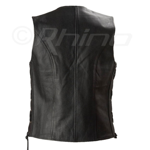 Womens Motorcycle Leather Vest with Zip Pocket - back view