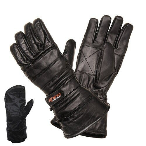 Leather Motorcycle Gauntlet Gloves for Winter