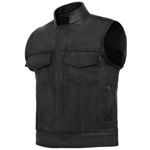 Sons of Anarchy Style Leather Biker Vest - Black