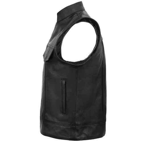 Sons of Anarchy Style Leather Vest - Black - side view