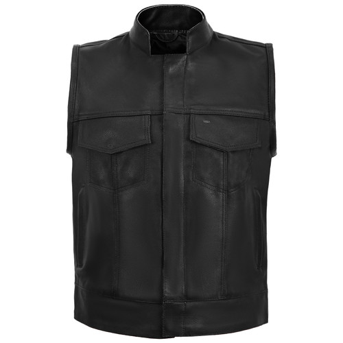 Sons of Anarchy Style Leather Vest - Black - front view